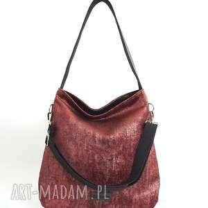 hobo xxl z rączką seria dotyk kolor rubin bordo, torebka na ramię