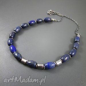 Beczułki z lapis lazuli naszyjniki irart srebro, oksydowane,