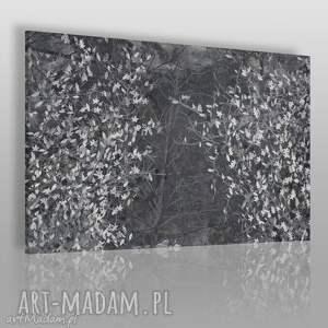 obrazy obraz na płótnie - czarno-białe liście 120x80 cm 23003, liście, drzewo