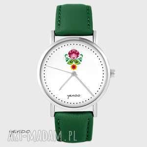 zegarki zegarek - folkowy kwiat skórzany, zielony, zegarek, branoletka