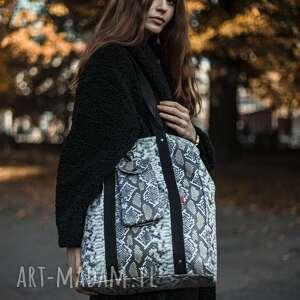 Duża torba shopper beżowy wąż torebki tasiemasie nerki shopperka
