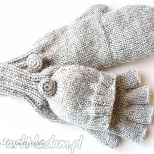 bezpalczatki z klapką 13 - rękawiczki, mitenki, dziergane, klapka, wełna