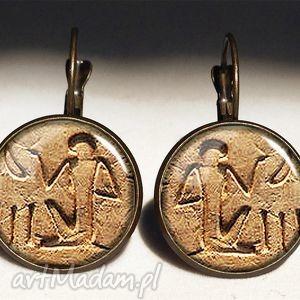 hieroglify - duże kolczyki wiszące egipskie, egipt