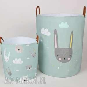 ręcznie wykonane pokoik dziecka komplet dwóch pojemników z króliczkami