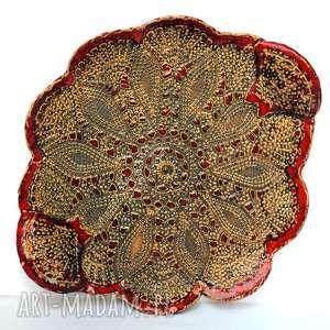 Ceramiczna koronkowa patera, naczynie, talerz, użytkowe, unikatowe, ceramika
