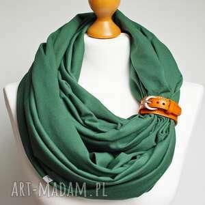 Wiosenny komin tuba szalik damski zielony, z zapinką, pomysł