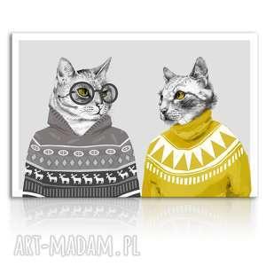obraz drukowany na płótnie hipsterskie koty w swetrach formacie 120x80cm 02338