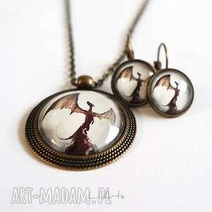 naszyjnik i kolczyki - komplet smok cienia, komplet, medalion