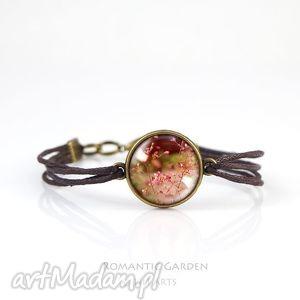 bransoletka - lato brązowa, antyczny brąz, sznureczki, bransoletka, kwiaty