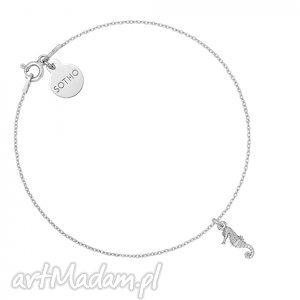 srebrna bransoletka z konikiem morskim - minimalistyczny, zawieszka, delikatny