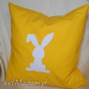 poduszka z kicajacym króliczkiem, poduszka, bawełna, poszewka, króliczek, wielkanoc