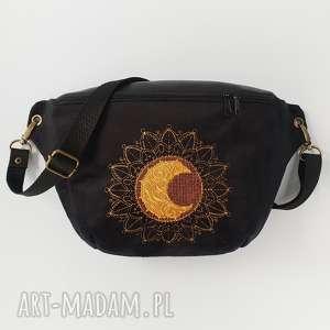 nerka xxl półksiężycowa mandala - ,nerka,mandala,czarna,aksamit,skóra,księżyc,
