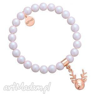 perłowa bransoletka z pereł swarovski® crystal z reniferkiem