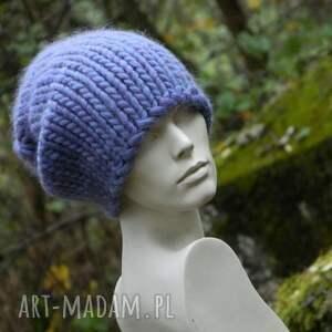 syberianka lilac 100 wool czapa - grubaśna, ciepła, oryginalna, designerska