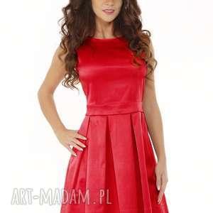 Sukienka kontrafałda kolor czerwony sukienki ella dora elegancka
