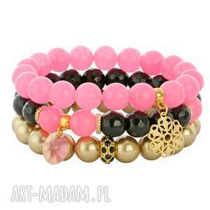 Dalia 3 - Pink,black & gold. - ,jadeit,majorka,onyks,swarovski,kwiatek,