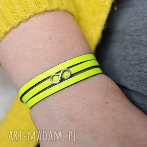 ręcznie robione bransoletka skórzana magnetoos triple infinity neon lemon