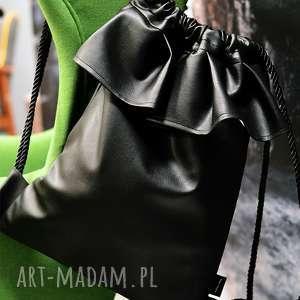 plecaki bbag black balerina, elegancki, skórzany, rower, falbanka, duży, ciemny