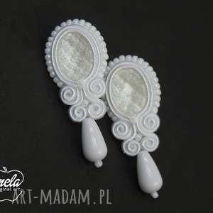 handmade ślub ~mela~kolczyki ślubne sutasz alia-cut sztyft biały