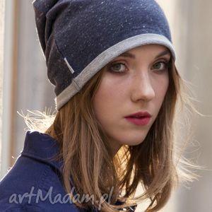 wygodna bawełniana czapka z granatowego melanżu - wełniana, bawełniana