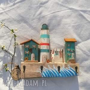 wieszak z latarnią morską, dom domek, latarnia morska, ozdoba do domu, ręcznie