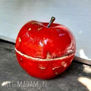 Ceramiczna cukierni8ca, jabłko naturalnej wielkości ceramika