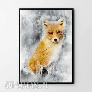 plakat obraz rudy lis 50x70 cm b2, plakat, obraz, lis, dekoracje