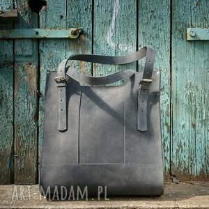 torba,Skóra naturalna, torebka szara , Handmade,skórzana torebka, szare torebki