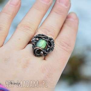 Aurora - pierścionek z labradorytem, pierścionek, regulowany-rozmiar, z-labradorytem