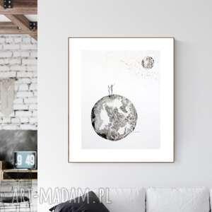 grafika 40x50 cm wykonana ręcznie, abstrakcja, elegancki minimalizm, obraz