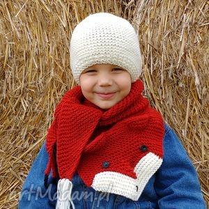 wyjątkowy prezent, ubranka lisi komplet, czapka, szalik, zima, ciepłe, wełniane