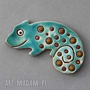 pod choinkę prezent, kameleon-magnes ceramiczny, ozdoba, minimalizm, lodówka