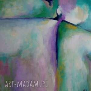obraz na płótnie - abstrakcja w fioletach i zieleniach 40/40 cm