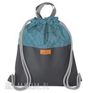 hand-made plecak eko skóra szary & turkusowa jodełka