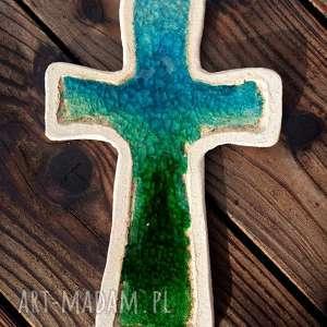 Krzyżyk na ścianę ceramika i szkło 1 - ,krzyż,krzyżyk,fusing,szkło,ceramiczny,