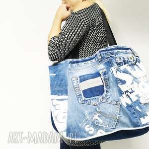 duża torba upcykling jeans 8 fihsbone od majunto, jeans, torba