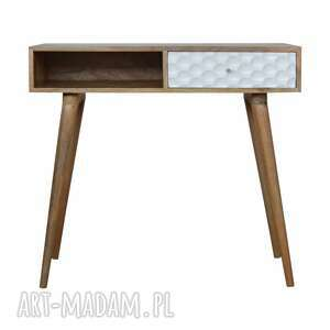 stoły biurko drewno konsola z szufladą plaster miodu skandynawski styl, lite