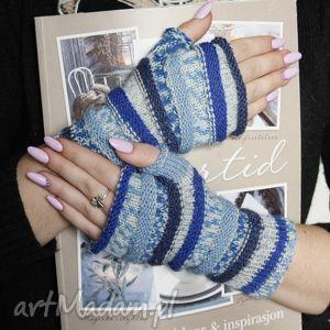rękawiczki mitenki z szafirem, mitnki, ruloniki, wełna, święta prezent