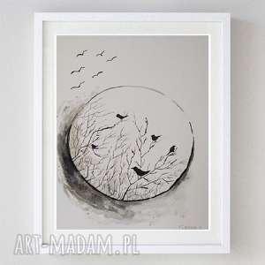 ptaki-praca wykonana tuszem i sepią formatu 18/24 cm, ptaki, sepia, tusz