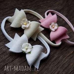 momilio art opaska do włosów floral bow różowa, opaska, kokardka, chrzest