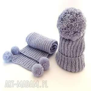 HANDMADE Wełniany komplet dziecięcy CZAPKA SZALIK (Alpaka Owca) , czapka, szalik