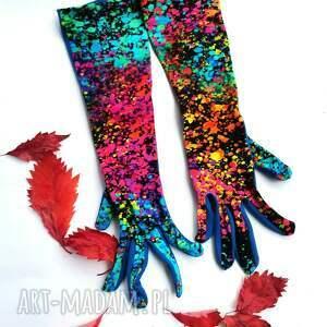 rękawiczki dzininowe dwukolorowe printy długość 30cm bez palców, cudo, print