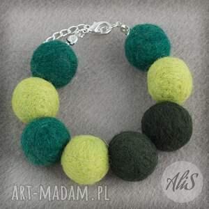 Trzy odcienie zieleni, filcowa - Ręcznie zrobione