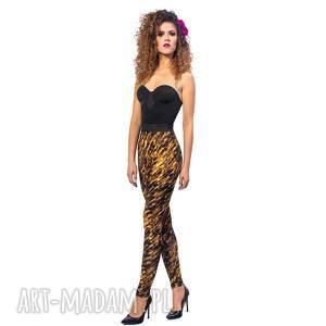 legginsy - zebra gold, elasyczne, wygodne, legginsy