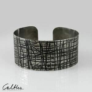 kraty - metalowa bransoletka 150306-01, bransoleta, bransoletka, szeroka
