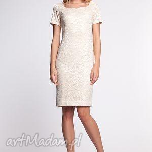 damiana - sukienka, moda, koronka, złoto, beż, jesień, zima