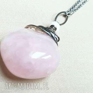 Prezent Naszyjnik ze srebra i różowego kwarcu, srebro, oksydowane, kobiecy, delikatny
