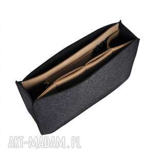 Organizer z filcu do torebki - grafitowy beżowym wnętrzem, organizer, filcowy,