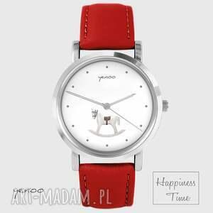 hand-made zegarki zegarek - konik na biegunach - skórzany, czerwony
