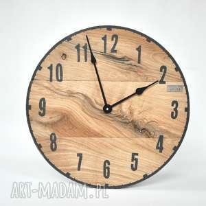 Zegar LOFT - dębowy, średnica 50 cm, debowy, loftowy, malowany, scienny, drewno